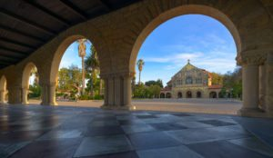 Stanford University Arches with Memorial Church in the background