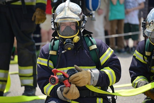 firefighter with respirator