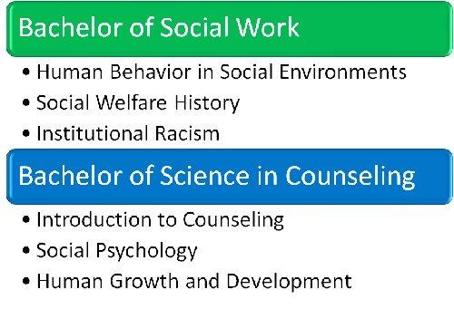 Undergraduate social work vs. counseling coursework